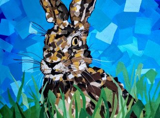 Contemporary Stare from an Irish Hare by Janet Millar (Gouache, 50x65cm)