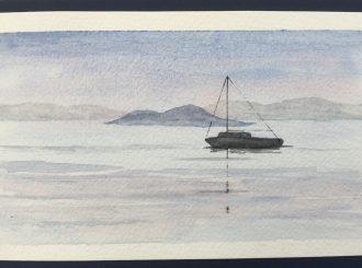 Evening on the Mar Menor by Ken Ward (Watercolour, 16x11cm)