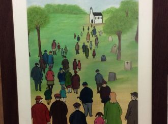 "Geraldine Hendry, ""Sunday Morning Gathering"", painted in oils, framed 17.5""x21.5"", £165"