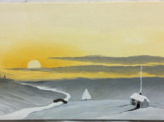 "Geraldine Hendry, ""Winter scene"", painted in oils on canvas, 15.5""x8"", £35"