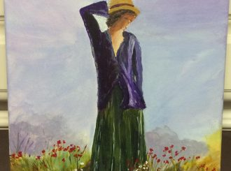 "Margaret McCloskey, ""Lady in the meadow"", acrylics on canvas, 12""x16"", £80"