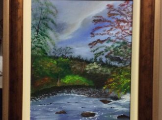 "Margaret McCloskey, ""Peace and tranquility of our countryside"", painted in acrylics, framed 14""x16"", £90"