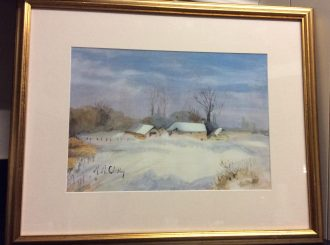 "Margaret McCloskey, ""Beauty of snow all around"", painted in acrylics, NFS"