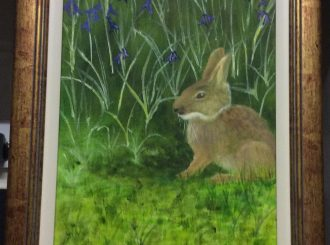 "Margaret McCloskey, ""Hiding amongst the bluebells"", painted in acrylics, framed 13""x19"", £95"