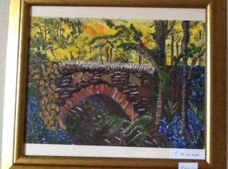 "Carole McNicholl, ""Bridge"" acrylics, NFS"