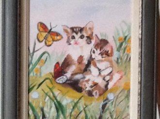 "Carole McNicholl, ""Kitten"", oil, NFS"