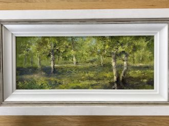 Roe Valley Park Limavady Fifty Shades of Green, Jim Holmes. Size 20cm x 51cm approx, Frame size 36cm x 67cm approx Oil on board, £ 300.00