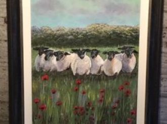 "Briege McWilliams, ""Ewes amongst the Poppies"" 19x15 inches, original acrylic, £195"