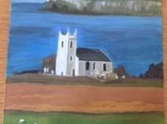 "Rosemary O'Kane, ""Church at Ballintoy"", oil on canvas, £30"