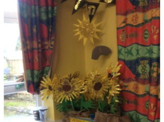 P6 7 Collaborative Sunflower Piece Inspired By The Sunflowers They Planted In Class