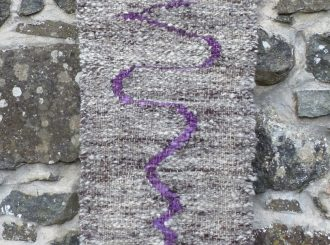 To Imagination (poem by Emily Bronte) by Crann & Caora (Textile piece (handspun, woven and hand dyed Jacobs wool with wood) 98x35cm, £200)