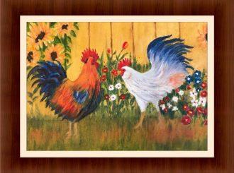 "Martina Mc Nicholl, ""Cockrels"", oil on canvas, NFS"
