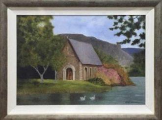 """Martina Mc Nicholl, """"Gougane Barra Church"""", oil on canvas, NFS"""