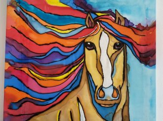 "Kirsten Brolly, ""A Horse with no name"", painting on silk, NFS"